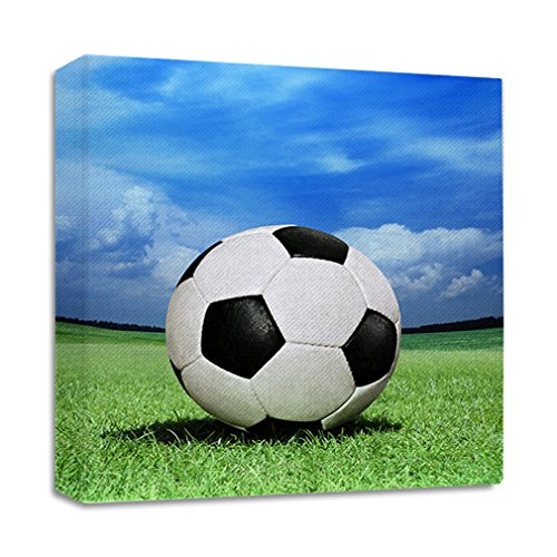 Soccer Ball On Green Grass Streched Canvas Wrap Frame Print Wall Décor - Full Border, 28''x28'' by Style in Print