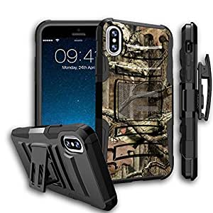 Apple iPhone X Camo Case Holster Case by Untouchble [Heavy Duty Clip] iPhone X Dual Layer Rugged Hybrid Armor [Kickstand] [Swivel Belt Holster Clip] - Real Hunter Camo