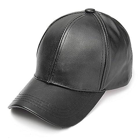 SUNNYME Unisex Faux Leather Baseball Adjustable Cap Snapback Sports Trucker Hats Black One Size - Unisex Black Leather