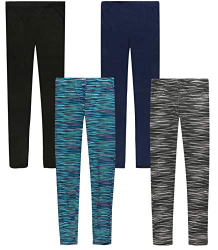 Only Girls Ultra Comfortable Soft-Touch Printed Yummy Leggings (4-Pack), Space Dye, Size 8/10']()
