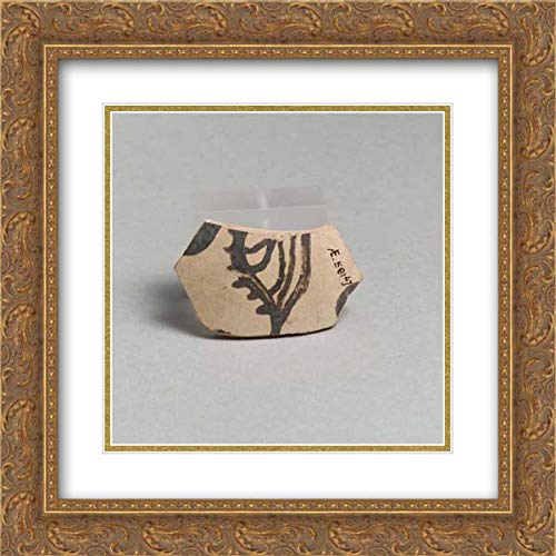 Minoan Culture - 20x20 Gold Ornate Frame and Double Matted Museum Art Print - Terracotta Vessel Fragment with Marine Motif