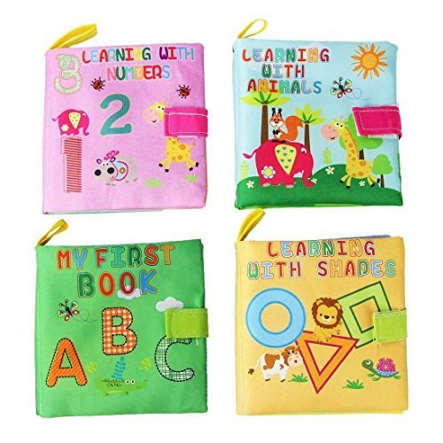 Tangomall Baby Books 4 Set,Early Learning Development Toy for Babies - ABC, 123, Shapes & Animals Toddler with Peekaboo Flap for 8 9 Month-1 2 Year Old Baby, Interactive Boy Girl,