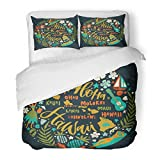 SanChic Duvet Cover Set Hawaii Islands Map Tourist Attractions Symbols Ukulele Hula Dancer Surfer Pineapple Sunbathing Girl Decorative Bedding Set Pillow Sham Twin Size