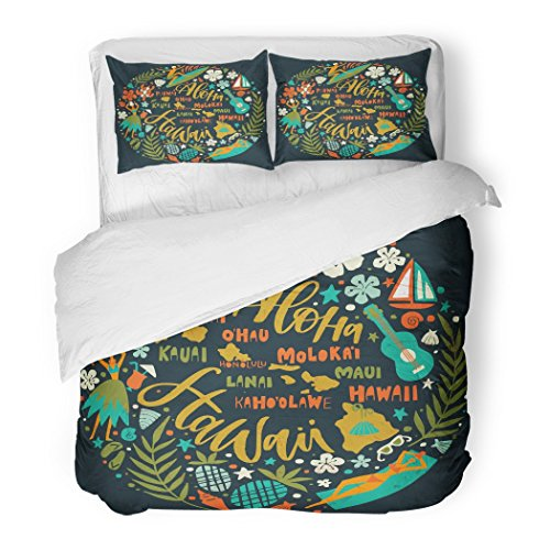 SanChic Duvet Cover Set Hawaii Islands Map Tourist Attractions Symbols Ukulele Hula Dancer Surfer Pineapple Sunbathing Girl Decorative Bedding Set Pillow Sham Twin Size by SanChic