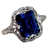 Sinwo Women Exquisite Ring Sea Blue Sapphire Diamond Jewelry Cocktail Party Bridal Engagemen Ring Gift (Blue, 6)