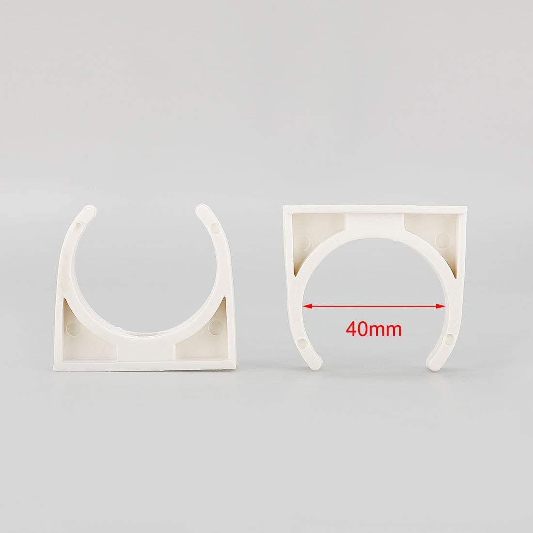 uxcell PVC Home U Shaped Pipe Clamp Water Supply Pipe Holder Stand Clamps Snap-in Clamp Bracket 40mm Dia 10pcs White