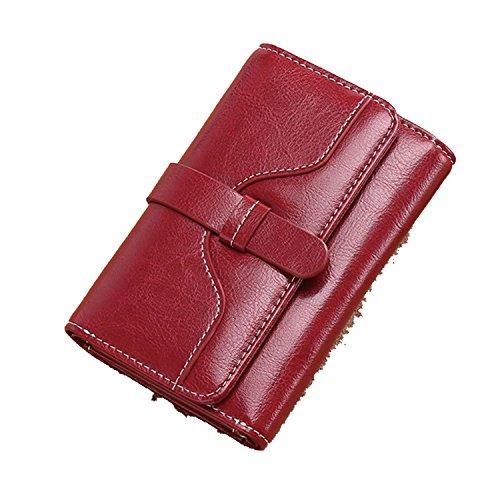 Korean Red Upgraded 2018 function Short wallet wallet multi purse Wine short Paragraph folding qnTvwt