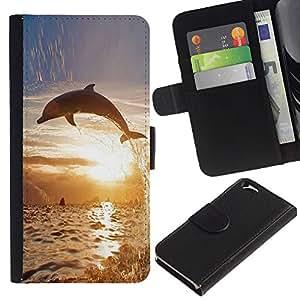 iKiki Tech / Cartera Funda Carcasa - Dolphin So Long Sunset Ocean Animal - Apple iPhone 6 4.7