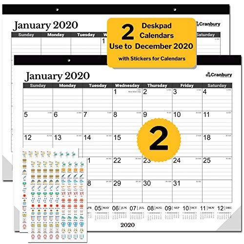 2 Large Monthly Deskpad Calendar 2020 17.75 x 13.75 (Black, 2 Pack), Use June 2019 to December 2020, Desk or Hanging Wall Calendar 2020, Bonus Stickers for 2020 Calendar