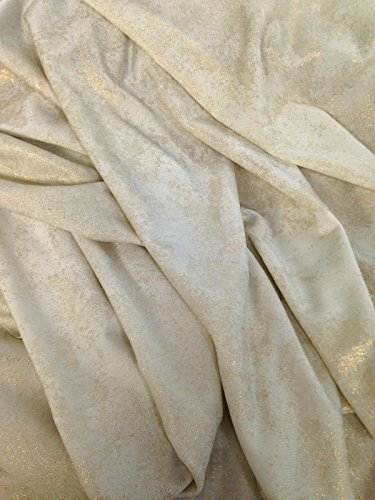 Gold Subtle Shimmer Foil Blotch Pattern on Creme Stretch Lightweight Semi-Sheer Knit Jersey Polyester Spandex Fabric By the Yard