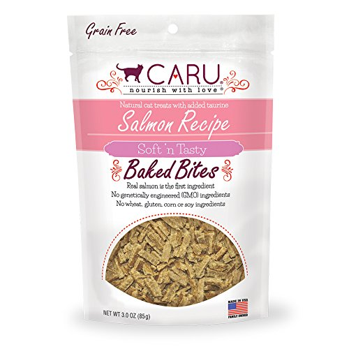 Catnip Liver Treat (Caru Salmon Recipe, Soft 'n Tasty Baked Bites All-Natural Cat Treats, Real Salmon, Non-GMO Ingredients, No Wheat, Corn or Soy (3 oz))
