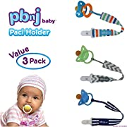 PBnJ baby Pacifier Clip Holder Strap Leash Tether for Boys and Girls with Safe Plastic Clip (Stripes, Chevron 3-Pack)