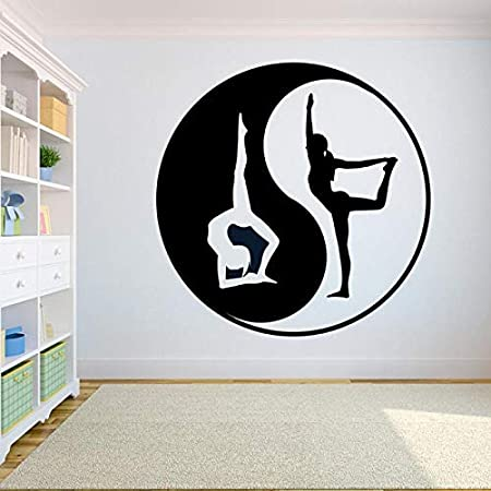 zhuziji Yin Yang Graphics Pose Logo Tatuajes de Pared Yoga Gym ...