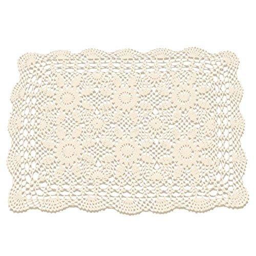 (gracebuy 16x23 Inch Rectangle Beige Handmade Cotton Crochet Lace Placemat)