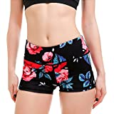 Panegy Women's Printed Workout Shorts Stretch Elastic Exercise Yoga Gym Shorts