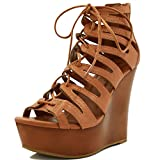 Allegra K Woman Lace-Up Cutout Open Toe Wedge Sandals Brown (Size US 10)