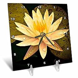 3dRose dc_13905_1 Yellow Lotus Flower Desk Clock, 6 x 6