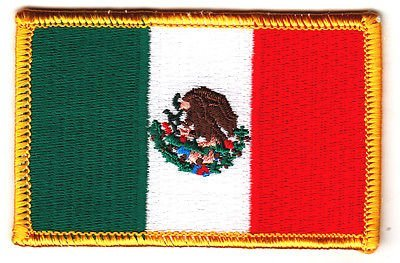 MEXICO FLAG - IRON ON EMBROIDERED PATCH - Mexican National Flag w/Gold (Mexican Iron)