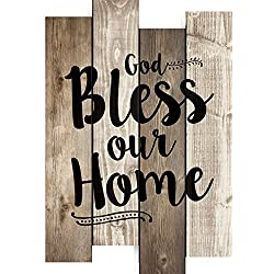God Bless Our Home 20.5 x 14 inch Wood Staggered Pallet Wall Sign Plaque