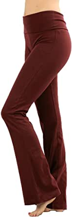 Zenana Women's Plus Size Stretch Cotton Fold Over Waist Flare Leg Yoga Pants