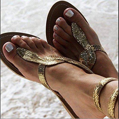 Sandali 35 Oro Serpentina Infradito EU Slittamento Sabbia Sandali Passeggiare Bassi Tacco da Donna 42 Scarpe Traspirante di All'aperto Anti Spiaggia Basso Juleya 1wxqCTH4q