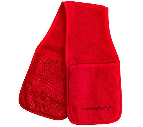Campanelli's Cooking Buddy - Professional Grade All-In-One Pot Holder, Hand Towel, Lid Grip, Tool Caddy, and Trivet. Heat Resistant up to 500ºF. As Seen On Facebook (Scarlet - All Ray