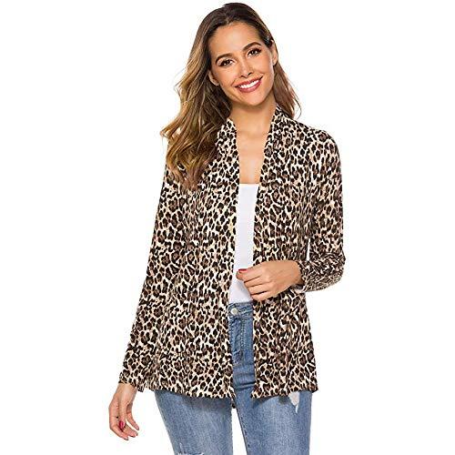 Sunnywill Manteau Sexy Automne Hiver Mode Casual Léopard Imprimé À Manches Longues Cardigan Veste Manteau