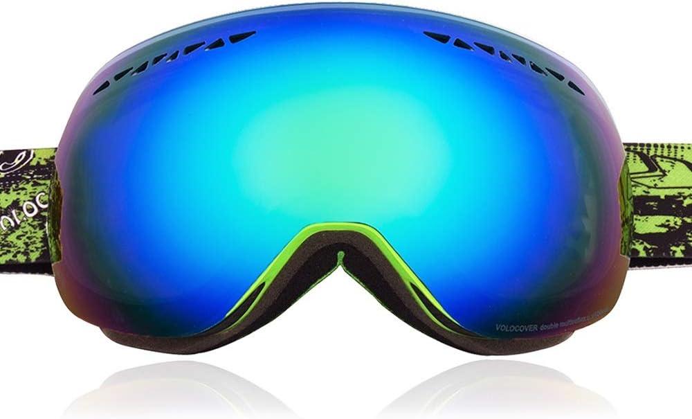 WJ スキーゴーグル スキーゴーグル - ダブルアンチフォグ、調節可能なヘッドバンド、コーティングレンズ、大きな視界の雪の保護、UV保護、親子の子供のユニセックスプロのwindproof屋外登山スキーゴーグル(利用可能な7色) /-/ (色 : 緑 frame 緑 color film) 緑 frame 緑 color film