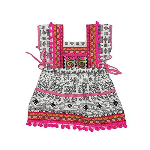 ARTIIDCO Beautiful Woven Cotton Ethnic Thai Girl Dress with Hand Embroidered Details and Colorful Pompoms 1 to 2 (Thai Embroidered Dress)