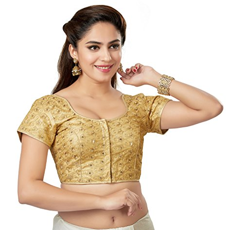 (TrendyFashionMall Readymade Embellished Sequin Work Saree Blouse Gold-02-XXL-46)