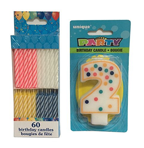 Number 2 Birthday Candle White with Colorful Polka Dot Design and Pack of 60 Classic Style Spiral Birthday Candles in Red, White, Yellow, Blue (2) by Simple Brilliance