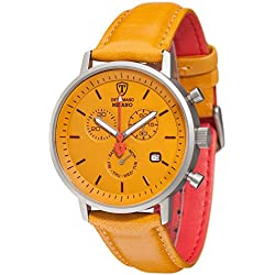 DETOMASO Milano Men's Wrist Watch Chronograph Stainless Steel Yellow Leather Strap