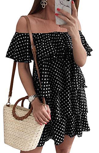 - ETCYY Women's Summer Beach Off The Shoulder Dot Floral Tiered Casual Chiffon Mini Dress Black