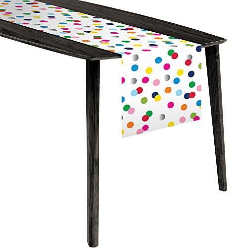Creative Converting French Bull Birthday Dots Foil Plastic Table Runner ()