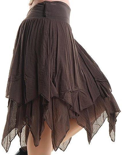 crazyinlove Mujer Falda Marrón con Picos negro negro Talla única ...
