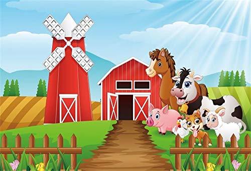 - OFILA Cartoon Farm Animals Backdrop 10x8ft Barn Photography Background Windmill Kids Farm Theme Birthday Party Decoration Children Photobooth Newborn Baby Portraits School Activity Video Props
