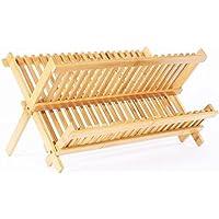 Claurys 水切りかご ラック 木製 デッシュラック スタンド 折り畳み キッチン (20枚)