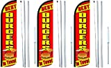 Burgers Best In Town King Windless Swooper Feather Flag Sign Kit With Complete Hybrid Pole set- Pack of 3