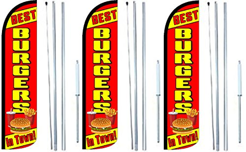 Burgers Best In Town King Windless Swooper Feather Flag Sign Kit With Complete Hybrid Pole set- Pack of 3 by OnPoint Wares