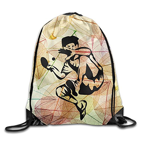 Pingpong Table Tennis Drawstring Storage Bag Sackpack Backpack For Men & Women School Travel Backpack by Cshoes