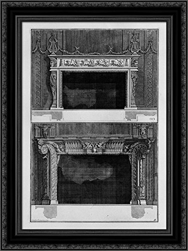 Two fireplaces superimposed with the support 4 in the chariot race in the circus, the inf with 2 swans that drink in a vase 20x24 Black Ornate Wood Framed Canvas Art by Piranesi, Giovanni Battista