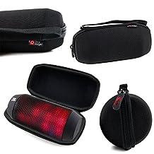 Housse étui pochette noir pour JBL Pulse, JBL Charge 2 et 2+, Flip 2 & Flip3, Jabra Solemate et Bose SoundLink Mini enceintes portables Bluetooth - DURAGADGET (Noir EVA)