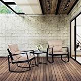 BestMassage Patio Furniture Rocking Bistro Set with Two Chairs Outdoor Rattan Sofa Wicker Conversation for Backyard Porch Poolside Lawn, 3 Piece Brown