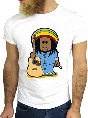 T-SHIRT JODE GGG24 HZ0351 REGGAE FUN COOL VINTAGE ROCK FUNNY FASHION CARTOON NICE AMERICA BIANCA - WHITE XL