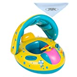 UClever Inflatable Baby Pool Float Swimming Ring with Sun Canopy for the Age 6-36 Months