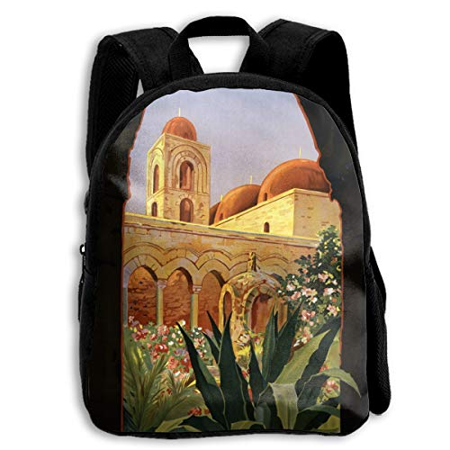 AACC-Bag Children's Bags Vintage Palermo Travel Poster Boys and Girls Backpack¡¢600D Plain Oxford Coth ()