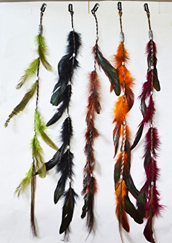 OPT®. Bundle 5 Pieces of 23 Inches Multi-Colors Party Highlights Colorful Clip On In Feather Hair Extensions, 100% Real Rooster Feathers. Free Shipping From New York.