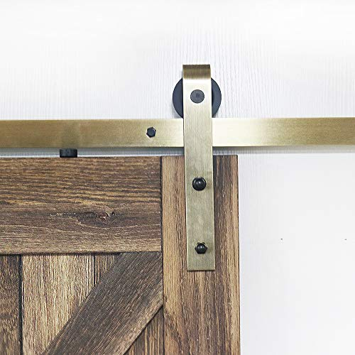 6.6ft Brass Classic Sliding Barn Wood Door Hardware Kit Gold Finish for Interior Doors