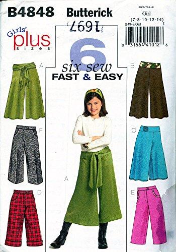 Butterick Fashion - Butterick B4848 ©2006 Girls Gaucho Pants ; Sizes (7-14)