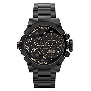 Timecode Albert 1905 TC-1003-05 Black Stainless steel 50mm Men's Watch BLACK dial with LIGHT BROWN accents on a BLACK stainless steel bracelet with a Date, Dual time and Chronograph movement